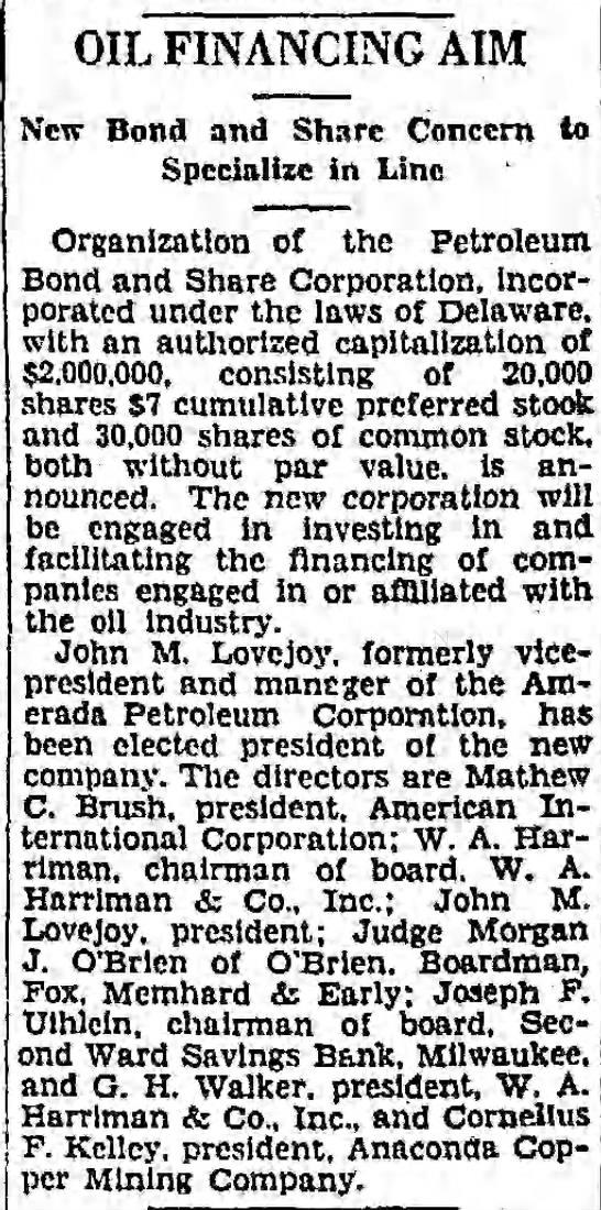 Petroleum Bond and Share Corporation_Brush of AIC, Harriman_Walker_1928