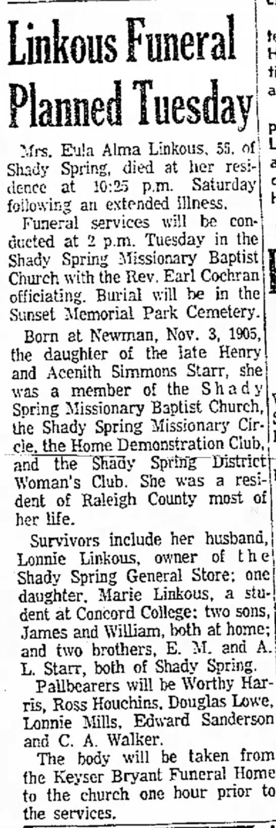Eula Alma Starr Linkous - Linkous Funeral Mrs. Eu!a Alma Linkous, 55,...
