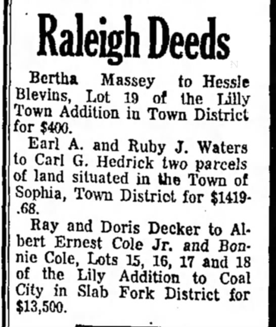 mom - Raleigh Deeds Bertha Massey to Hessle ilevins,...
