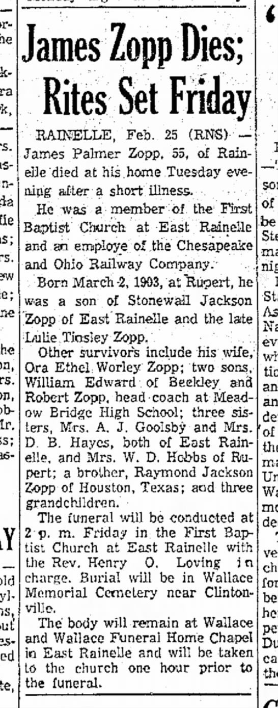 James Zopp obituary, Feb 26 1959 - .-Patients Memorial the Dickie, Barbara Mrs....
