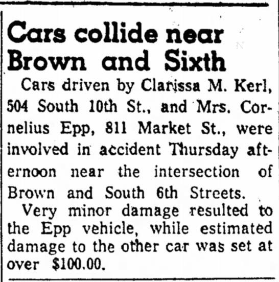 Kerl, Clarissa M Accident 14 Nov 1958 - Cars collide near Brown and Sixth Cars driven...