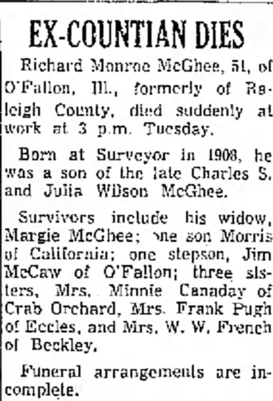 McGhee, Richard, Obit 2 - Ar- be at EX-COUNTIANDIES Richard Monroe...