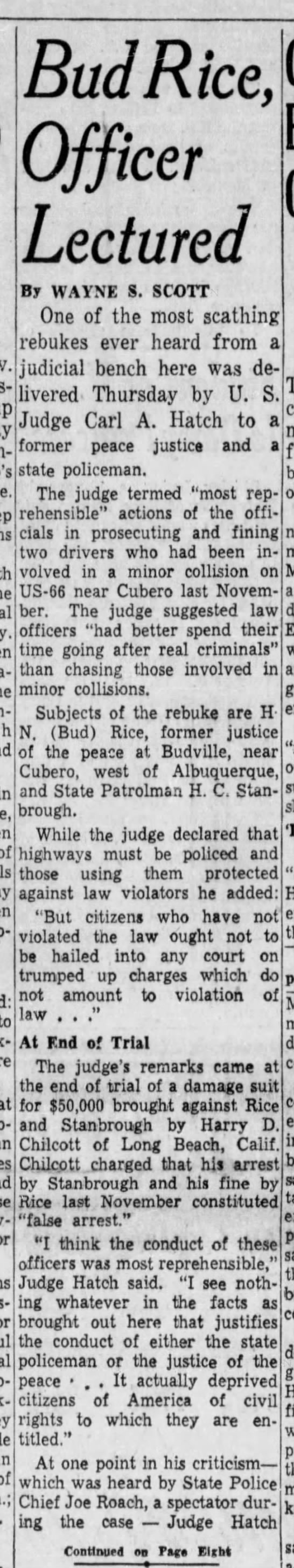 Bud Rice, Officer Lectured by Judge May 27, 1955 Bud Rice of Budville, NM - in of! to Junk-er, of Bud Rice, Officer...