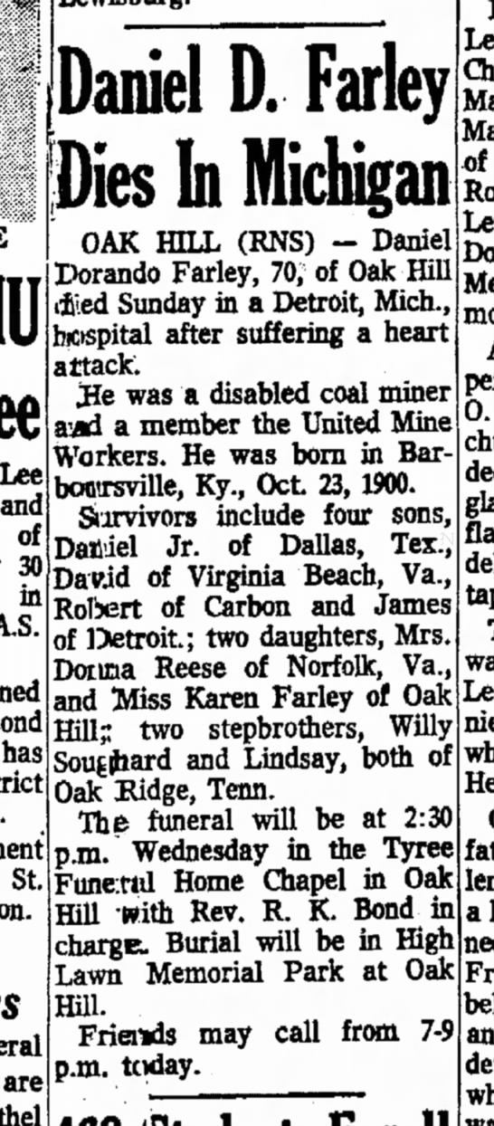 Daniel Dorando Farley obituiary 1971 - Lee and of 30 in has St. Funeral m e n t s a r...