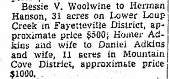 Bessie V Woolwine - Bessie V. Woolwine to Herman Hanson, 31 acres...