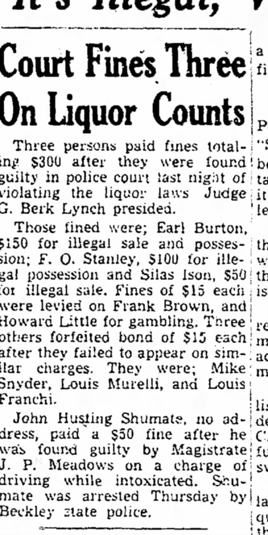 Silas Ison, fine for illegal sale of liquor