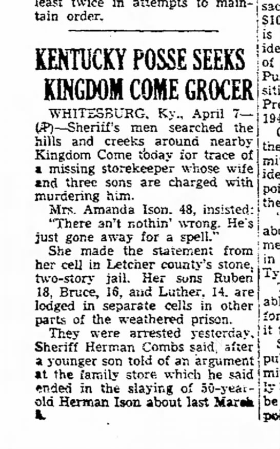 Herman Ison possibly murdered by wife and three sons per Kentuckey posse