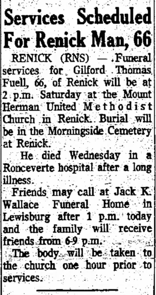 - site Services Scheduled For Renick Man, RENICK...