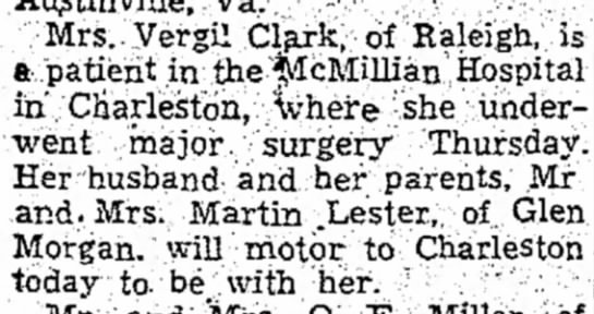 27 September 1952 - Mrs Vergil Clark, of Raleigh, a patient in the...