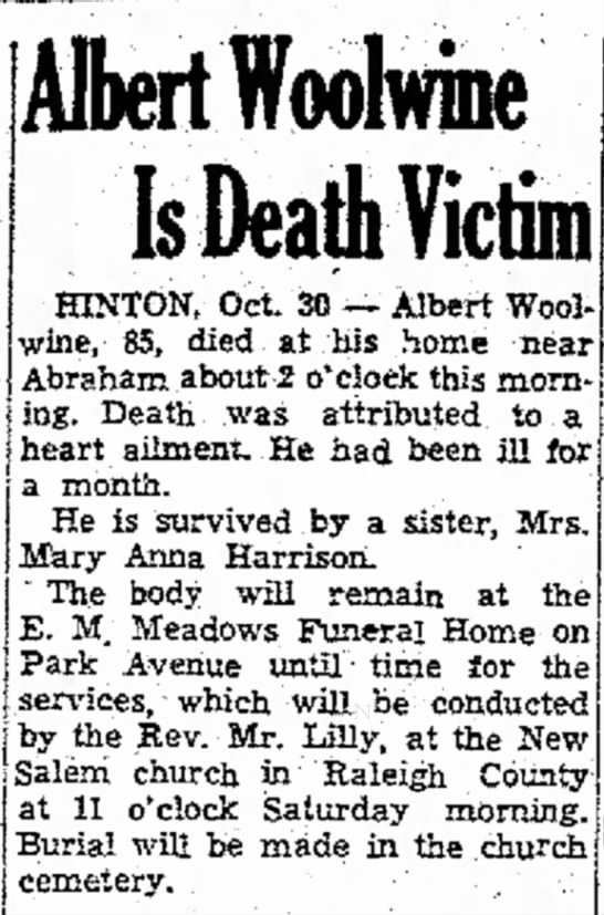 Albert Woolwine - HINTON, Oct. 30 -- Albert Woolwine, 85, died at...