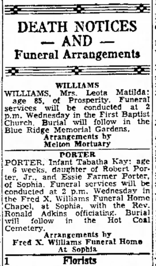Tabatha Kay Porter 2 - a DEATH NOTICES -- AND -Funeral Arrangements...