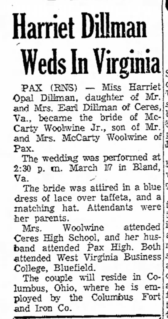 McCarty Woolwine - Harriet Dillman Weds In Virginia PAX (RMS) Miss...