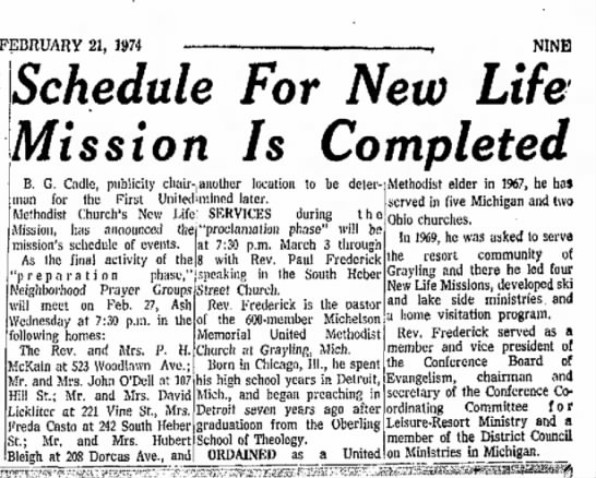 Rev. Paul Frederick - Michelson Church - FEBRUARY 21, 1974 NINE Schedule For New Life...