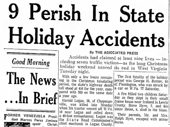 Harold Logan - Perish In State Holiday Accidents Good Morning...
