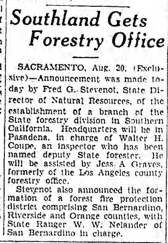 1930-8-21 Southland Gets Forestry Office