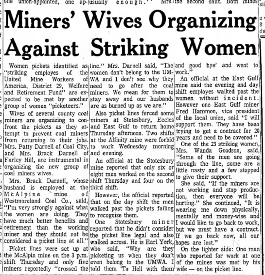 MRS B Darnell WV COAL MINNERS 7 Sept 1973 - of Mine to one union-appointed, one ap- usually...