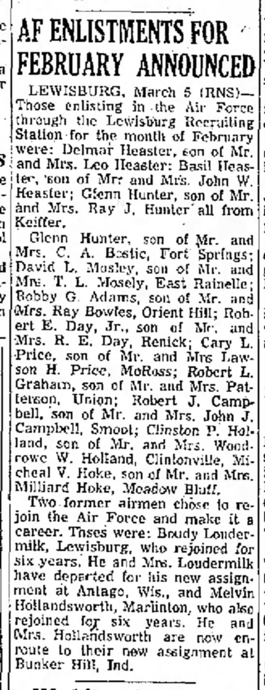 Military Enlistment Announcements - Clinton P Holland - article 6 Mar 1956 Beckley Post-Herald