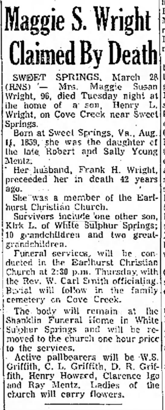 Maggie S Wright obit - the at Maggie S. Wright OO O Claimed By Death...