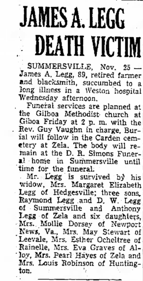 - JAMES A. LEGG DEATH YICTI / SUMMERSVILLE, Nov....