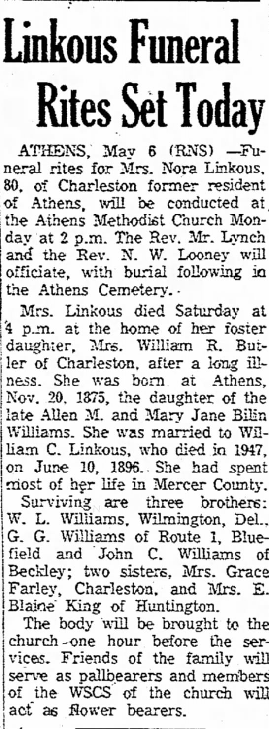 Elnora Nora Williams Linkous
