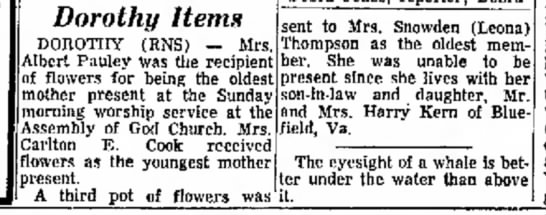 Leona Wykle Thompson gets flowers