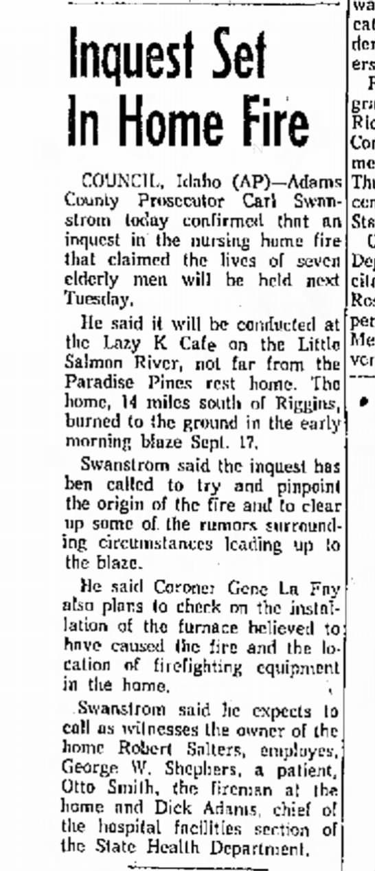 Sep 25 1963 Paradise Pines Rest Home - Inquest Set In Home Fire COUNCIL, Idaho...