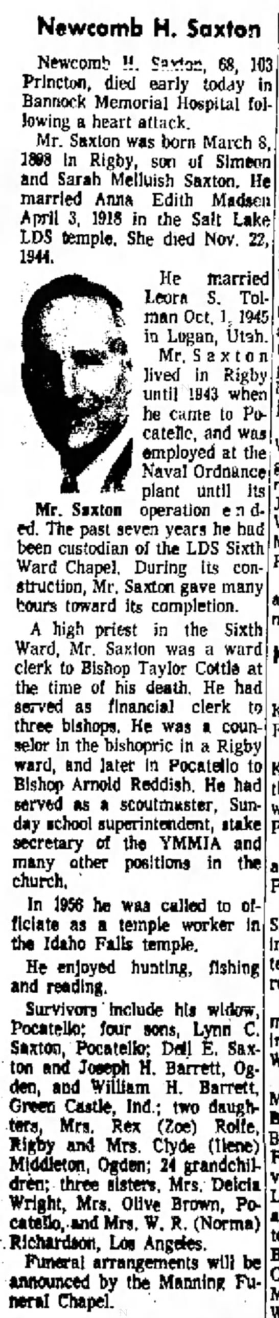 Obituary of Newcomb H. Saxton (1898-1966) - Newcomb H. Saxton Newcom!? H. Sixt3=, 68, N...