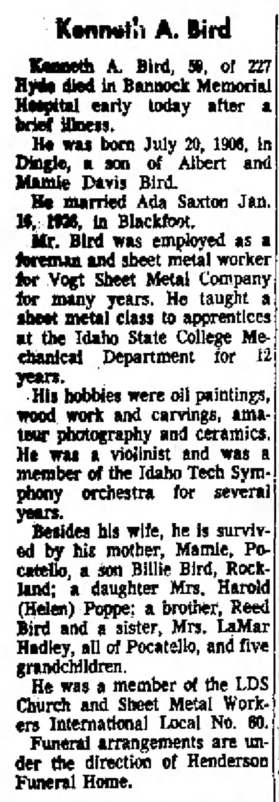 Obituary of Kenneth A. Bird (1906-1966) - K«nn«t'i A. Bird KMMth A. Bird, », of 227...