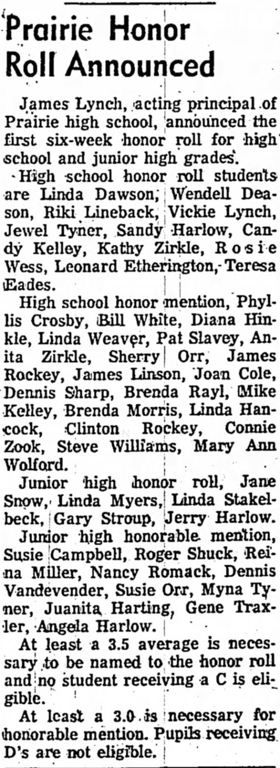 Dennis Sharp, Prairie high school honorable mention - Prairie Honpr Roil Announced James Lynch,...