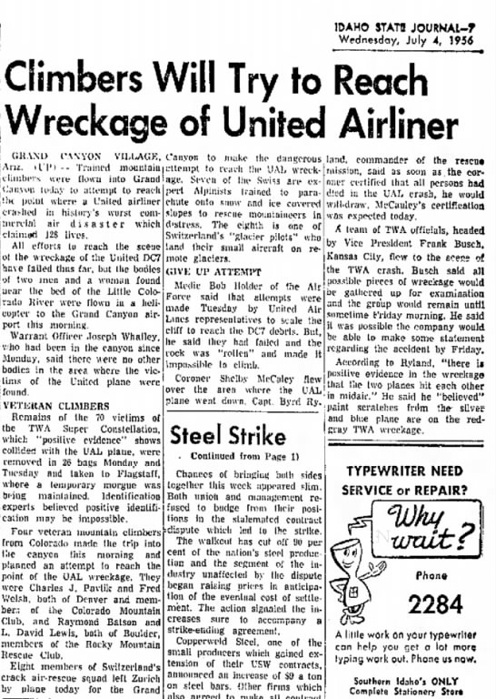grand canyon - IDAHO STATB JOURNAl-T Wednesday, July 4, 1954 l...