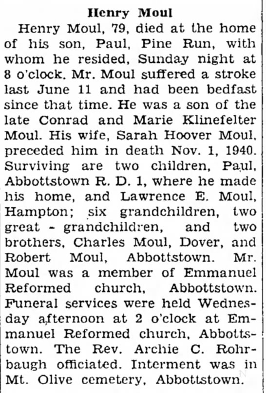 Henry Moul obit-May 1948 - 2 Mr Mrs other Henry Moul Henry Moul, 79, died...