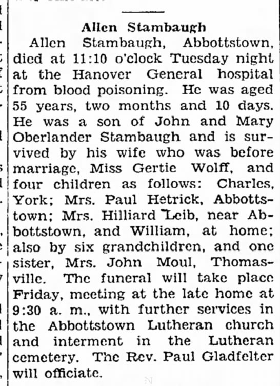 Allen Stambaugh obit-Jul 1932 - and and at of afternoon. Allen StambauRfi Allen...