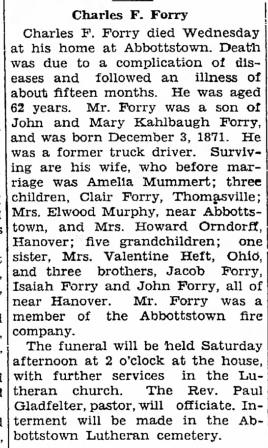 Charles F Forry obit-Oct 1934