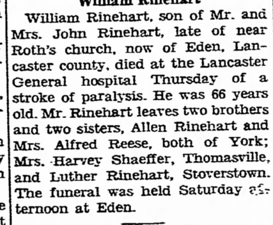 Wm Rinehqrt Obit 03/17/1950 - Berlin after housebound. the William Rinehart....