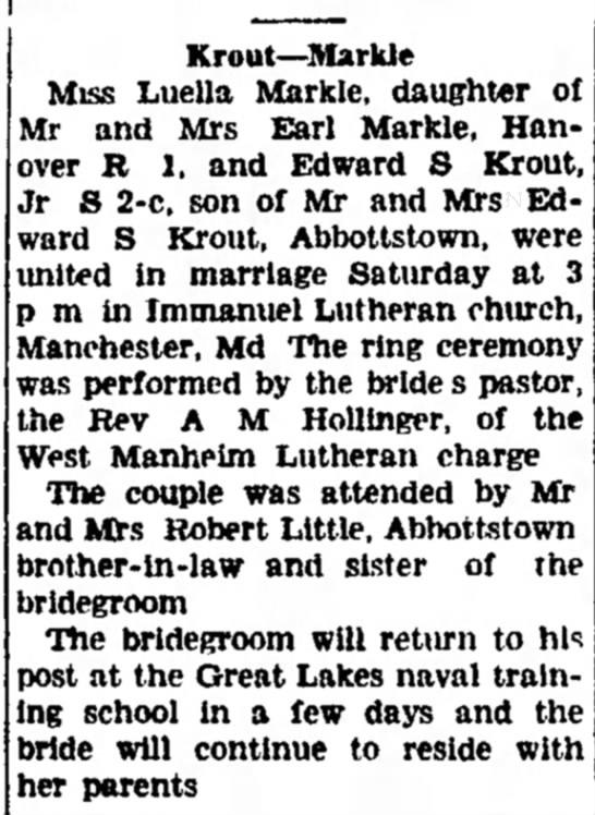 Luella Markle and Edward S Krout marriage-Jan 1944