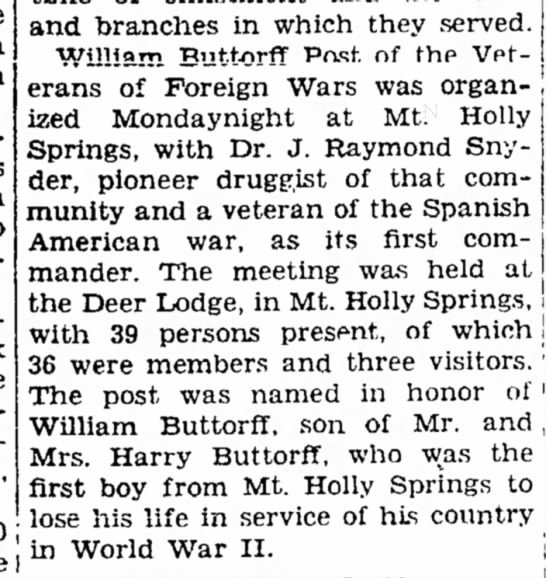 William Buttorff VFW post founding - the Death was to Sunday late I and branches in...