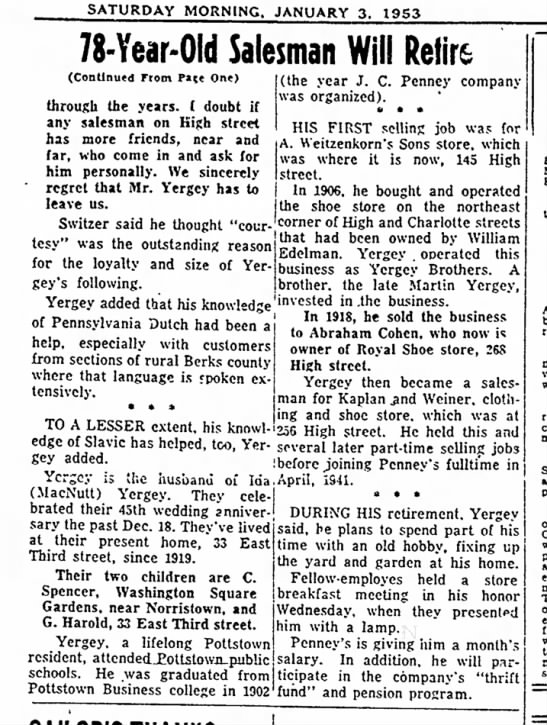 George T Yergey retirement - 2 - SATURDAY MORNING. JANUARY 3. 1953 78-Year-Old...