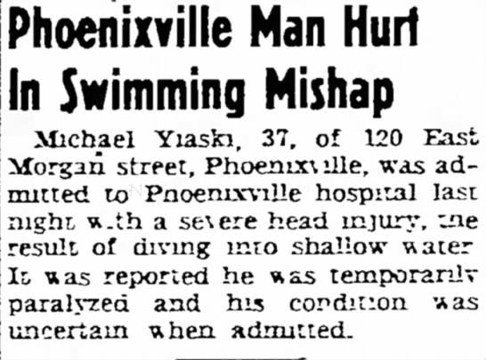Pottstown Mercury 27 Aug 1947, Wed - Brae William Phoenixville Man Hurt In Swimming...