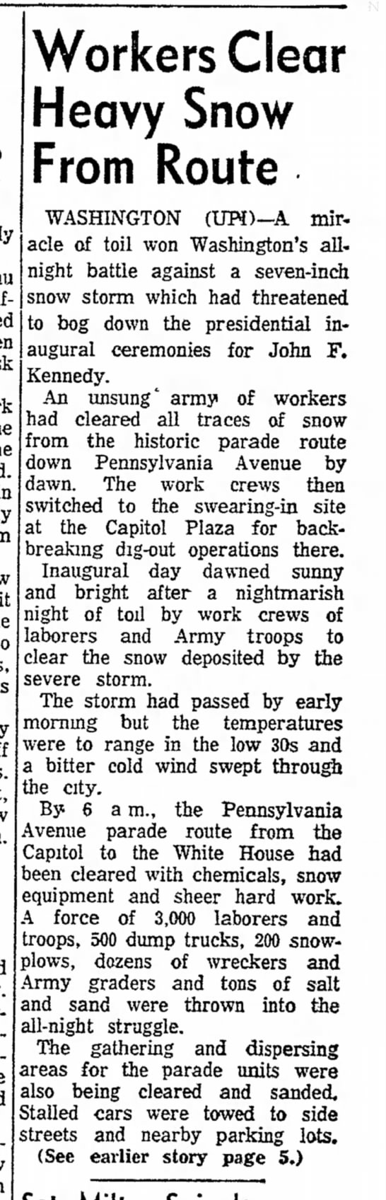 Workers clear heavy snow for Kennedy inauguration, 1961 - fallen York the it boy off are Workers Clear...