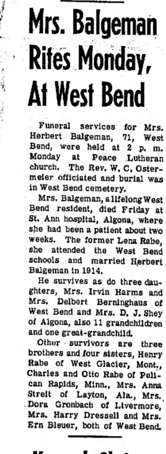 Lena Balgeman dies