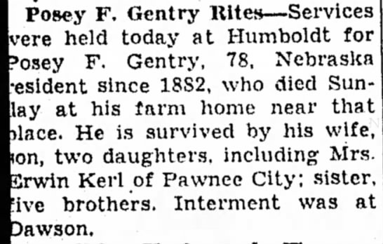 Kerl, Erwin Posey Gentry Rites 19 Jan 1944 Beatrice Daily Sun