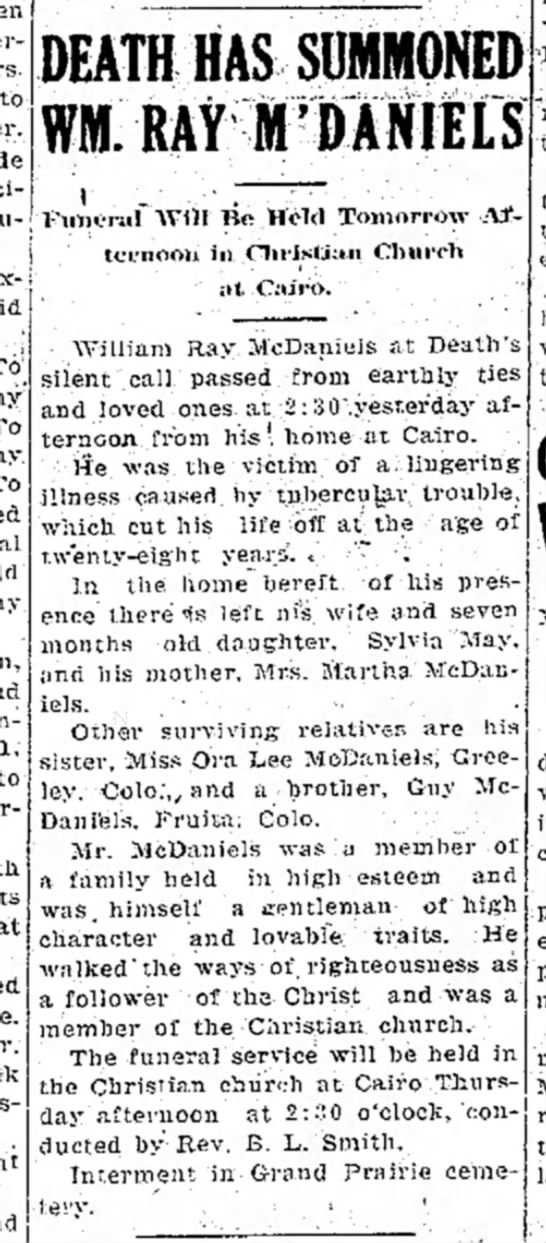 Wm Ray McDaniel death - Moberly Evening Democrat, 29 Oct 1919, p1