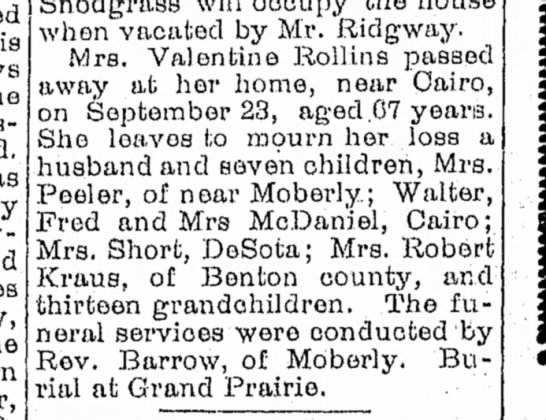 Lura Boucher Rollins - Moberly Democrat - 29 Sep 1901 p6 - when vacated by Mr. Ridgway. Mrs. Valentine...