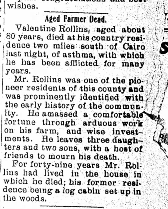 Valentine Rollins - Moberly Evening Democrat - 11 Dec 1901 p11 - j wishes, • Aged Farmer Dead, !deilce tw * 0...