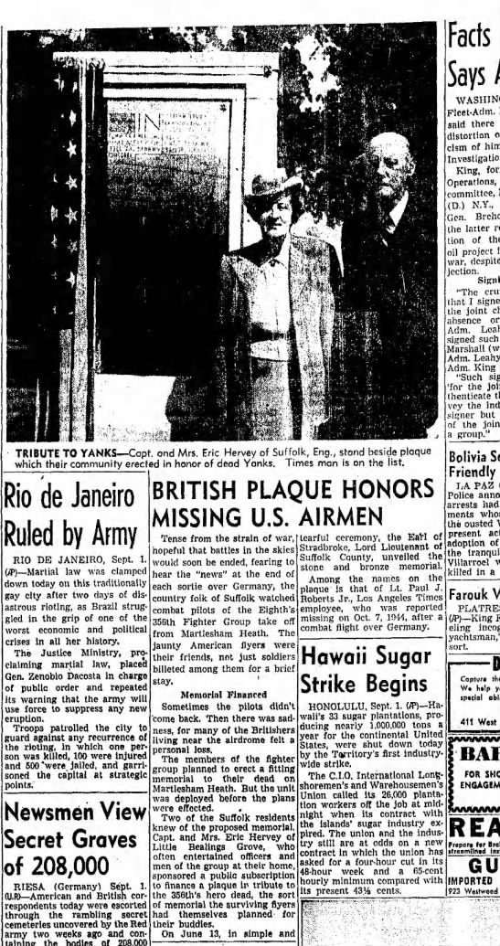 Martlesham Heath.  LA Times 2 Sep 1946 (Monday) - TRIBUTE TO YANKS Capt. and Mrs. Eric Hervey of...
