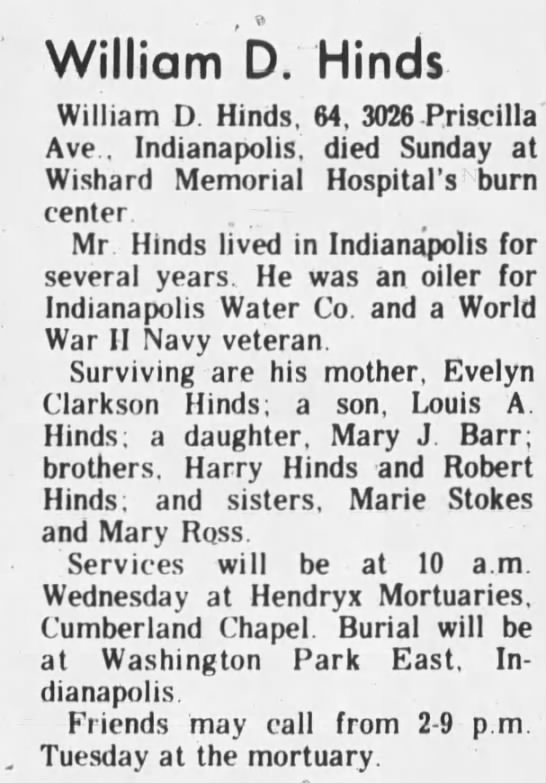 William D Hinds Greenfield Daily Reporter 10 June 1985 - William D. Hinds William D. Hinds, 64, 3026...