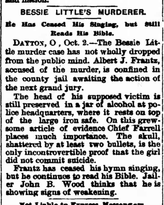 2 October 1896, Daily Herald, Delphos,OH - house skull method almost a razor no in BESSIE...