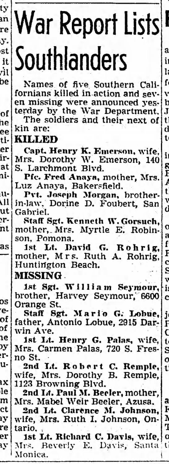 WWII killed or missing, Southern California, 1944 - it be of All of of by Ahasu-eras. War Report...