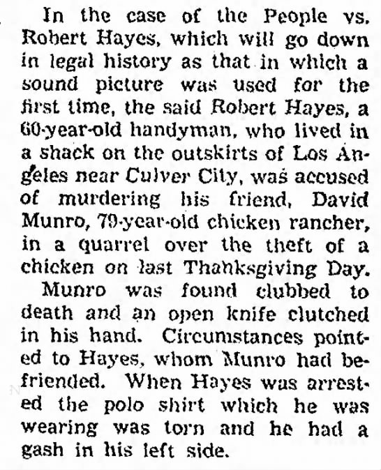 "David W Raleigh ""Rollie"" Munroe Murder - In the case of the People vs. Rohert Hayes,..."