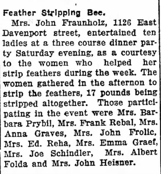 3-14-1927 Anna Graves Feather Stripping Bee - Feather Stripping Bee. Mrs. John Fraunholz,...